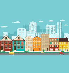 town streets with views of the skyscrapers vector image
