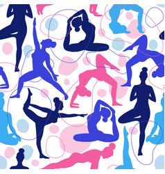 Trend seamless pattern yoga class pink and blue vector