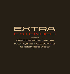 Ultra expanded sans serif font in sport style vector