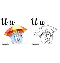 Umbrella alphabet letter u coloring page vector