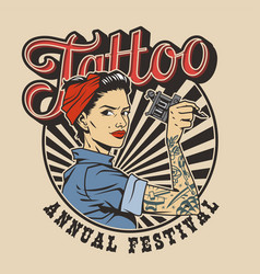 Vintage colorful tattoo festival label vector