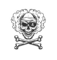 Vintage monochrome pirate skull vector