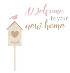 Welcome to your new home with bird and nestling vector