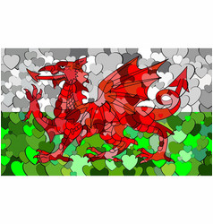 Welsh flag made of hearts background vector