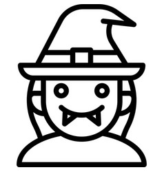 Witch avatar halloween costume icon vector