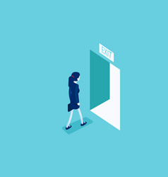 woman walking to exit through an open door vector image