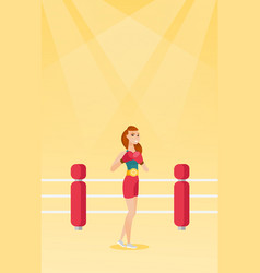 Young caucasian confident boxer in the ring vector