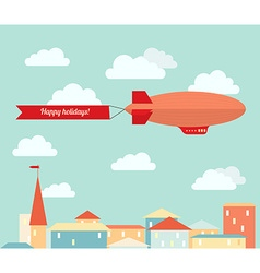 Airship in the cloudy sky flying over the city vector image