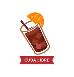 alcoholic beverage cuba libre with drinking straw vector image