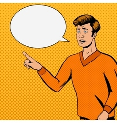 Comic strip man talks with sad face vector image