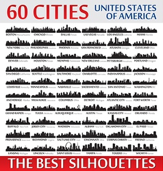 Incredible skyline set 60 city silhouettes of USA vector image