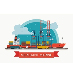 Merchant Marine Freight Poster vector image vector image