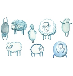 set of sheep in different poses vector image vector image