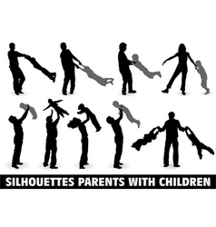 silhouette happy family vector image