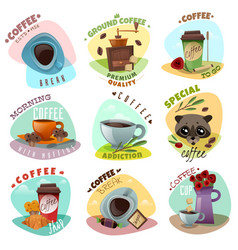 Coffee shop emblems set vector