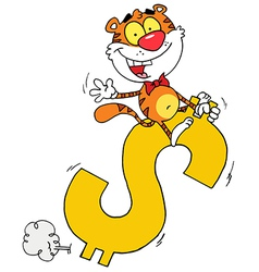 Happy Tiger Riding On A Dollar Symbol vector image vector image