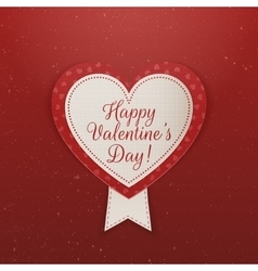Happy valentines day textile emblem with ribbon vector