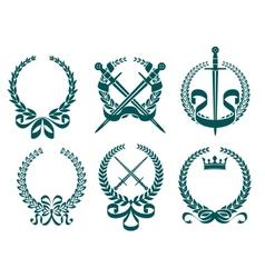 Laurel wreathes with heraldry elements vector