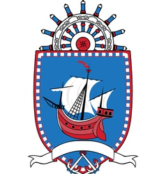 Marine emblem coat of arms sailboat wheel vector image