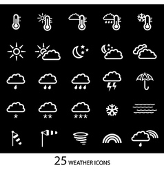 White weather icons with black background Set of vector image vector image