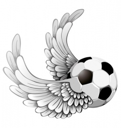 winged soccer ball vector image vector image