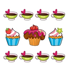 cupcake set on white background vector image vector image