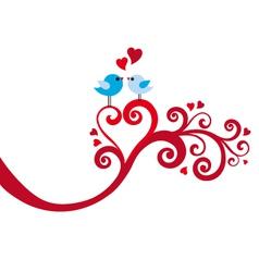love birds with heart swirl vector image