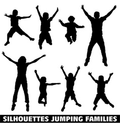 silhouette happy jumping family vector image vector image