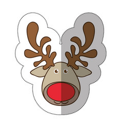 Sticker colorful cartoon funny face reindeer vector