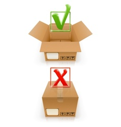 boxes with ok and cancel mark vector image vector image