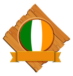 Flag of ireland on wooden board vector