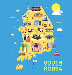 map of korea attractions and vector image vector image
