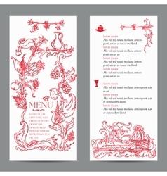 Restaurant menu design with vintage label vector image