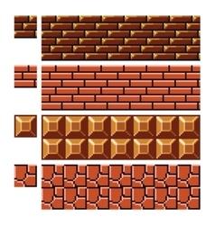 Texture for platformers pixel art - brick vector image
