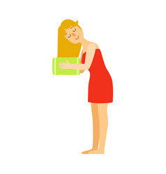 Woman wipes her hairs with a green towel colorful vector