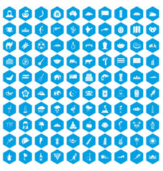 100 exotic animals icons set blue vector image