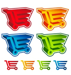3d shopping cart icons vector