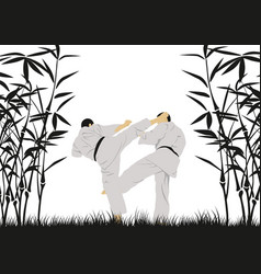 A man demonstrating karate vector