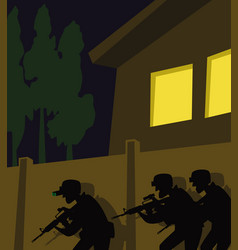 a team special forces on a combat mission vector image