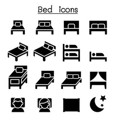 bedroom mattress icon set vector image