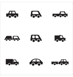 Black and white car icons vector