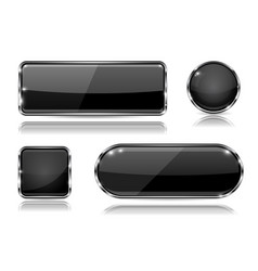 black glass buttons with chrome frame set of vector image