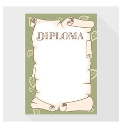 Blank diploma as a roll of old paper vector image