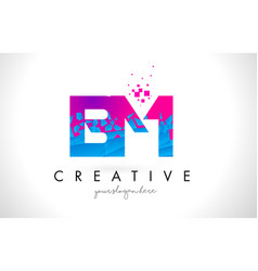 Bm b m letter logo with shattered broken blue vector