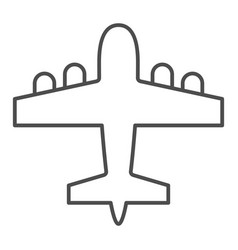 Bomber airplane thin line icon war aircraft vector