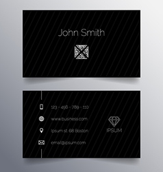Business card template - simple dark modern design vector image