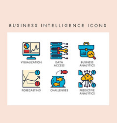 Business intelligence icons vector