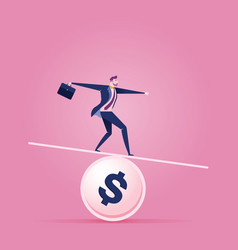 businessman balancing on a coin - business concept vector image