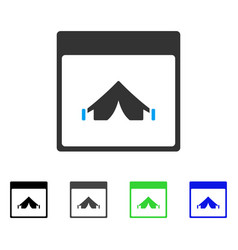 Camping calendar page flat icon vector