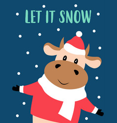 christmas card with cute cow vector image